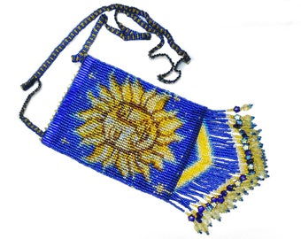 Sun Moon Stars Beaded Pouch Necklace - Beaded Bag- Amulet Bag Necklace - Astrology Jewlery - Astronomy Gift - Celestial Jewelry
