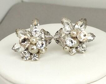 Champagne Bridal Studs- Champagne Earrings- Cluster Earrings- Rhinestone Studs- Wedding Earrings- Vintage Inspired Studs- Brass Boheme-Clips