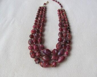 Vintage Multi-strand Necklace, Reddish