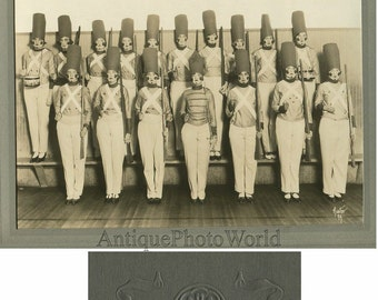 Girls dressed as toy soldiers with drums antique costume photo