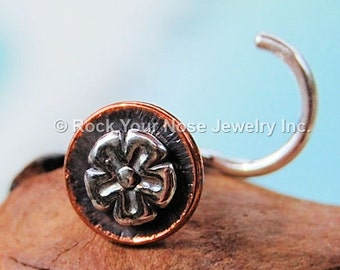Celtic Flower Nose Stud with Copper - CUSTOMIZE