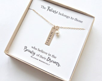 Personalized Graduation Gift, High School Graduation, Graduation Gift, Gold Bar necklace, Class of 2018, Silver Bar Necklace, Senior Gift