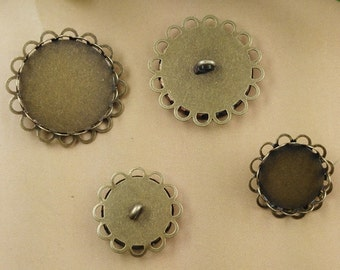 30 Blank Brass Button Base W/ Antique Bronzed Double Lace Frame 14mm/16mm/ 18mm/ 20mm/ 25mm/ 30mm Round Bezel Setting W/ Back Ring wholesale