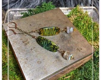 Green Agate Earrings, labradorite earrings, Stone Earrings