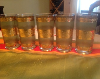 Vintage Starlyte Green and gold glasses - set of 5