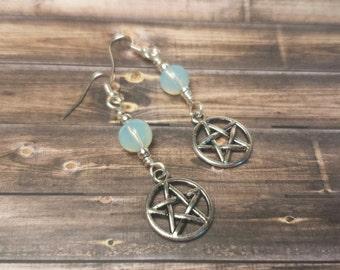 Opalite Pentacle Earrings, Wiccan Jewelry, Pagan, Magic, Magick