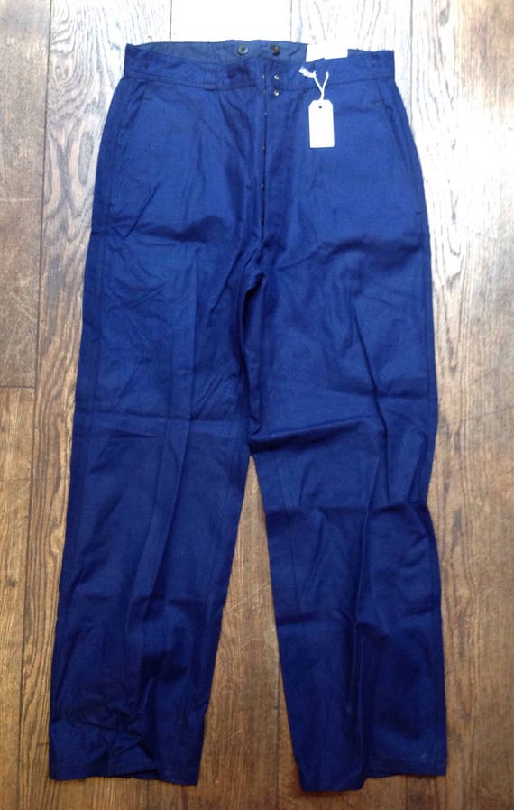 "Vintage blue indigo French chore workwear trousers pants button fly suspender brace buttons 33"" x 31"" (4)"