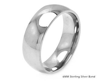 Silver Ring Band, 925 Sterling Silver Ring Band, Sterling Silver and Rhodium Finish Ring Band