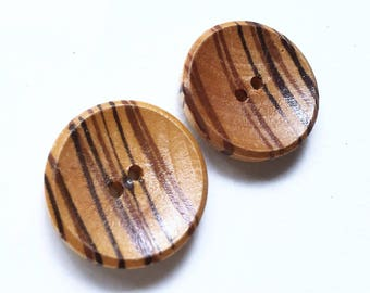 eco friendly golden brown and dark brown striped wood buttons--matching lot of 2