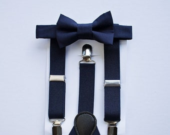 Boys Navy Bow Tie Suspenders , Ring Bearer Outfit, Navy Wedding Bow Tie Suspenders Set, Baby Boy Suspenders, Boys Bow Tie, Boys Suspenders