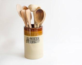 vintage utensil crock // earth tone crock // 1980s kitchen utensil holder