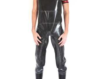 Rubber dungarees chest waders 1 mm heavy rubber with attached rubber boots, made-to-measure