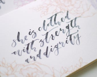 She is Clothed with Strength and Dignity Card | Proverbs 31 Card | Mother's Day Card | Hand-Drawn Peonies Card | Hand-Lettered Card