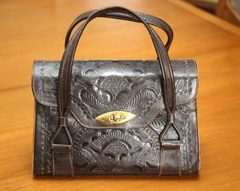Vintage Hand Tooled Leather Hand Bag By Flores Bags Beautiful!