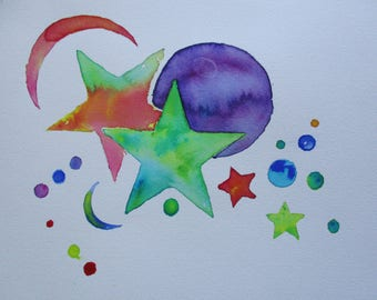 Moon star watercolor painting