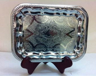 Silver Color Metal Vanity Tray Abbott of England Product British Made - Serving Tray