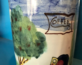 Italian Pottery Hand Painted Coffee Canister