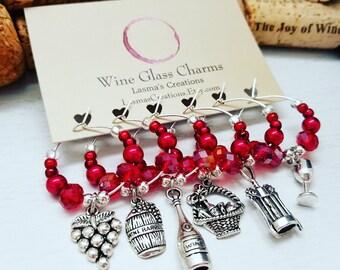 6 WINE CHARMS, Housewarming Hostess Gift - Wine Glass Charms, Vineyard Theme Birthday Favors, Wine Decor, Wine Lover Gift, LasmasCreations