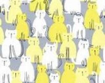 Michael Miller Here Kitty Kitty Citron Fabric - 1 yard