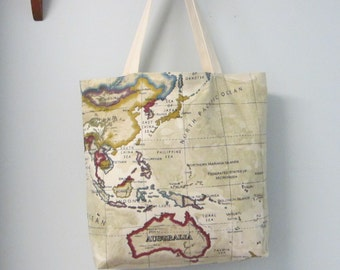 Map Tote Bag, Beige World Map Bag, Map Fabric Tote,  Atlas Fabric Tote Bage, Bag, Book bag,Map Fabric Bag, Eco friendly Shopping Bag, Cotton