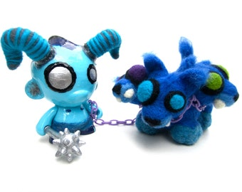 Demon Foomi and Cerberus Pup felted toy sculpture