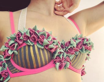 Rose Bra With Gold Stripes