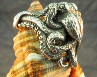 Octopus Ring Silver Octopus Jewelry Tentacle Jewelry Tentacle Ring Steampunk Jewelry Steampunk Ring Octopus Art Octopus Tentacle Ocean Ring