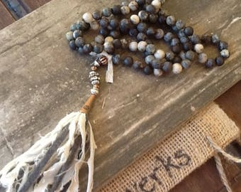 Tassel Necklace Rustic Necklace Gemstone Necklace Women's necklace long necklace Hand Knotted Necklace