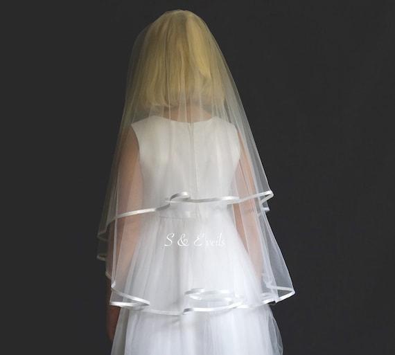 Communion Veil, First Communion Veil, Confirmation Veil, Holy Communion Veil, Baptism Veil, Veil with ribbon, White color, Flower girl veil,
