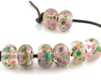 English Garden Handmade Lampwork Glass Beads (8 Count) by Pink Beach Studios (1765)