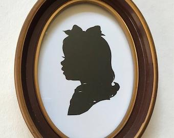 "FRAMED Custom Silhouette in Real Vintage Oval Frame 5x7"""
