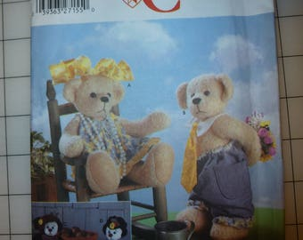 """Retired Simplicity Crafts Pattern 5302  for 14"""" Bears and Clothes"""