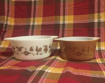 Pyrex Early American Set of 2 Round Casserole Dishes- #473/474