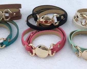 Thin Leather Monogrammed Bracelet