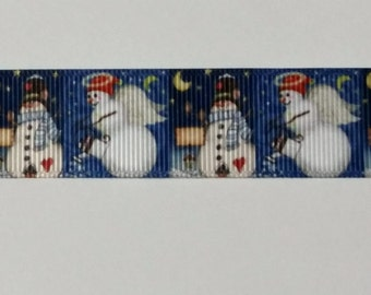 Snowman and Angle Christmas Ribbon - 1 Yard