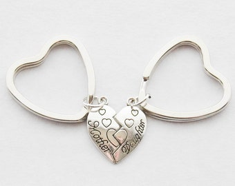 Mother and Daughter Jewelry Set of 2 Keychains Mother Daughter Keychain Mother's Day Gift Mother Daughter Gifts Family Keychains Heart Charm