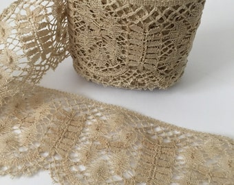 Antique Bobbin Lace 3 1/2 Yards Single Piece Taupe Colored Cotton Crocheted Lace