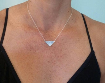 Sterling Hammered Triangle Necklace, Sterling Silver, Hammered Necklace, Small Silver Necklace, silver Necklace