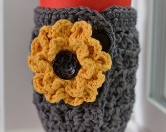 Crochet Coffee Cozy, Gray Cup Cozy, Flower Cup Cozy, Addison Coffee Cozy, Gift