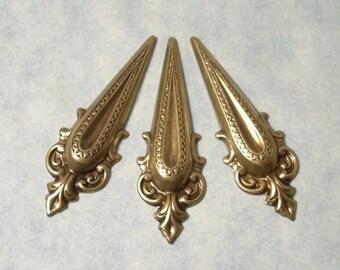 Art Nouveau Oxidized Brass Stampings (3 pcs) 41x13mm