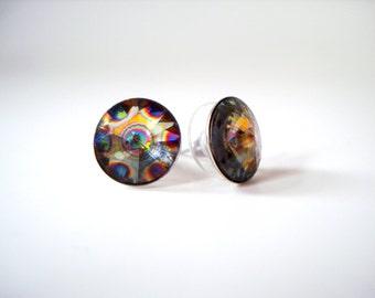 Colorful Peacock Stud Earrings - rainbow peacock eye Swarovski crystal round rivoli rhinestone studs large bold post earrings