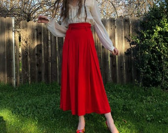 70s High Waisted Maxi Skirt - Cherry Red