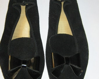 Cutest  retro black suede leather with large bow 1950s slipon shoes -slipper