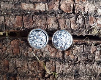 8mm silver faux druzy earrings