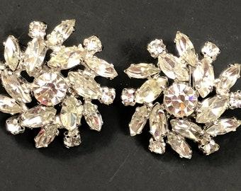 Pair of Vintage Sherman Swarovski Crystal Round Marquis Earrings
