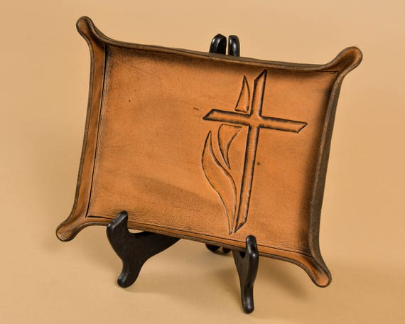 Leather Valet Tray with Engraved Cross and Flame of the Holy Spirit