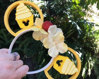 Dole Whip Flower Crown 3D Printed Mouse Ears IllusionEars Headband