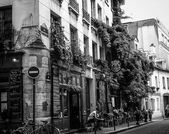 Street Cafe -  Paris, France, Bicycle, Cafe, Architecture, Street Photography, Black and White, Fine Art Photograph