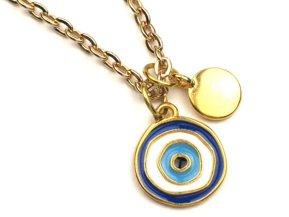 Charm Necklace with Blue & White Evil Eye and Gold Disc Charms on Gold Link Chain, Protection Necklace, Personalized Gift