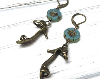 High Heel Charm Earrings. Long Drop Earrings. Flower Earrings. Dangle Earrings. Teal. Lever Back. Handmade Jewelry. 50mm.